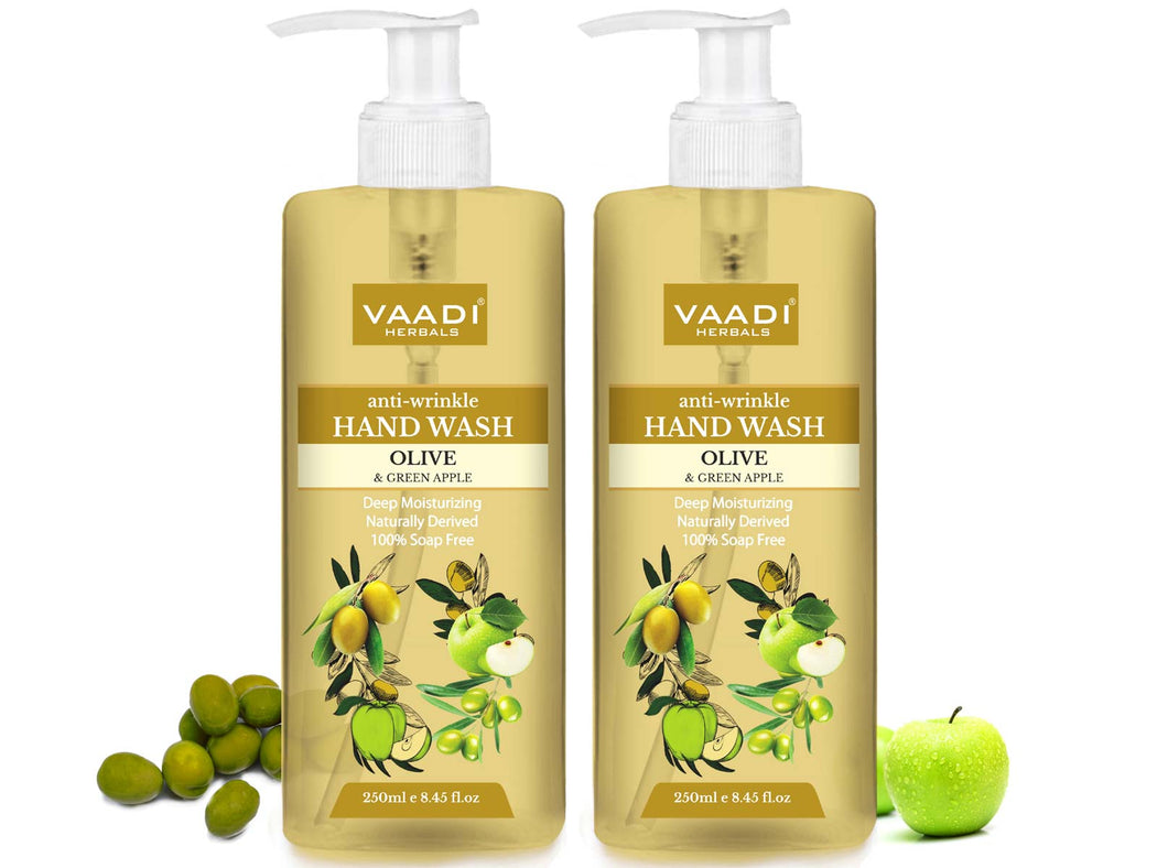 Pack of 2 Anti-Wrinkle Olive and Green Apple Hand Wash (250 ml x 2)
