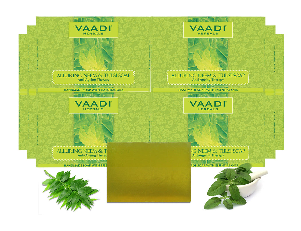 Pack of 12 Alluring Neem-Tulsi Soap with Vitamin E & Tea Tree Oil (75 gms x 12)