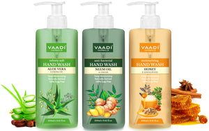 Pack of 3 Luxurious Handwash - Aloe Vera & Jojoba Oil, Neem Oil & Ginger, Honey & Sandal (250 ml x 3)