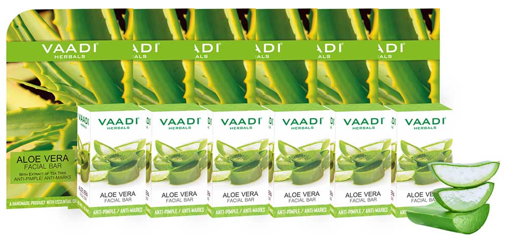 Pack of 6 Aloe Vera Facial Bars with Extract of Tea Tree (25 gms x 6)