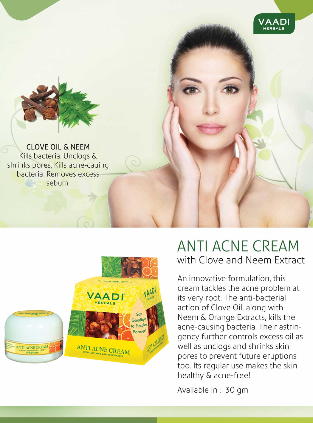 Pack of 3 Anti-Acne Cream - Clove & Neem extract (30 gms x 3)