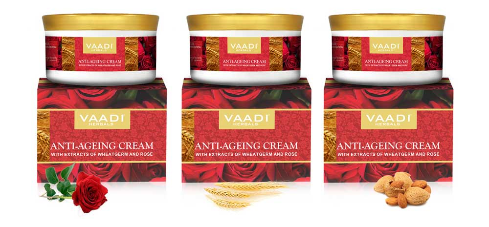 Pack of 3 Anti Ageing Cream with extracts of Almonds, Wheatgerm and Rose (150 gms x 3)