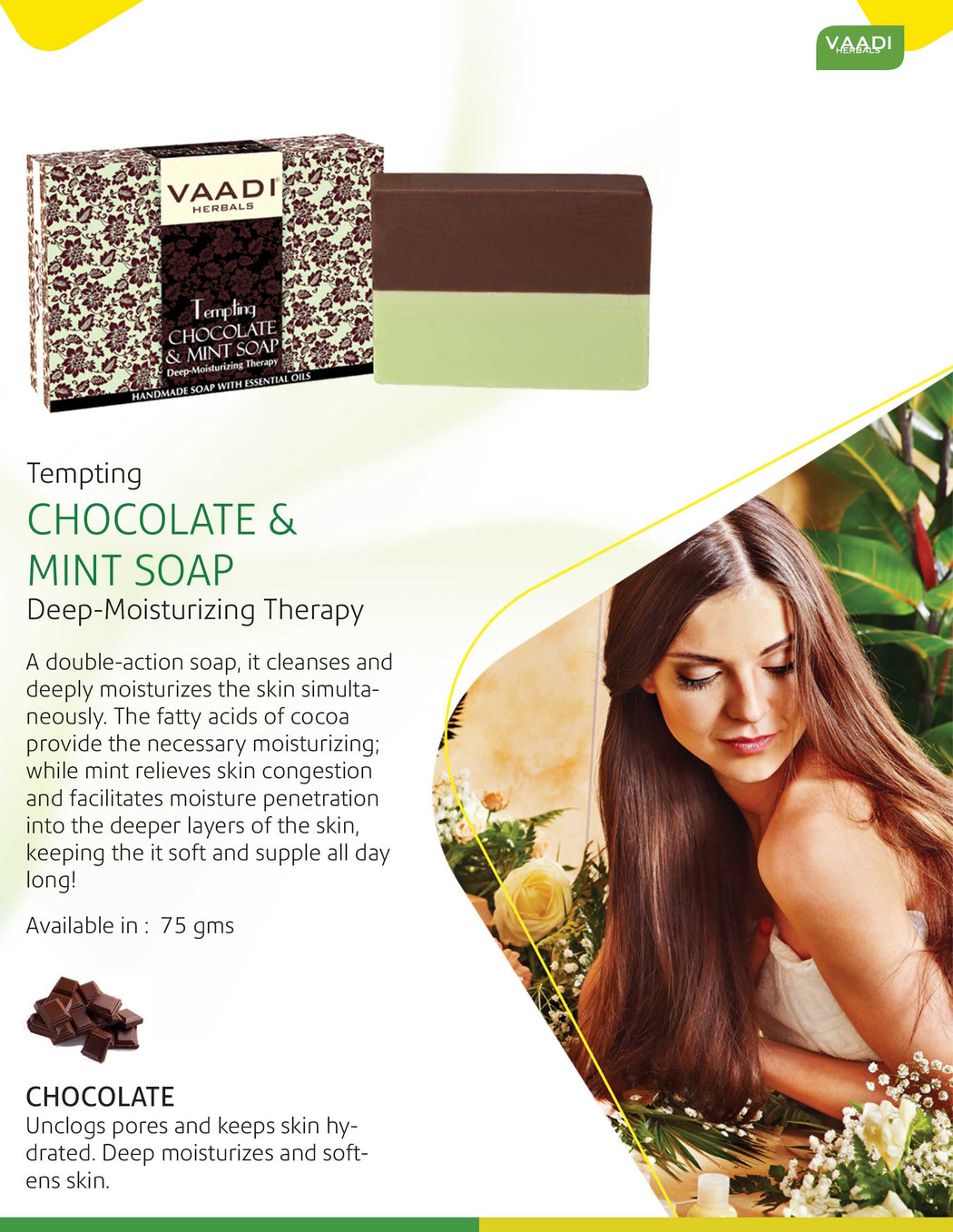 Pack of 12 Tempting Chocolate & Mint Soap - Deep Moisturising Therapy (75 gms x 12)