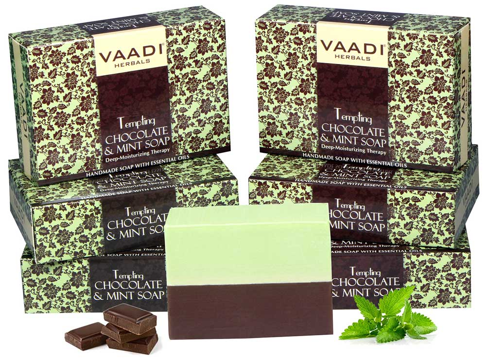 Pack of 6 Tempting Chocolate & Mint Soap - Deep Moisturising Therapy (75 gms x 6)