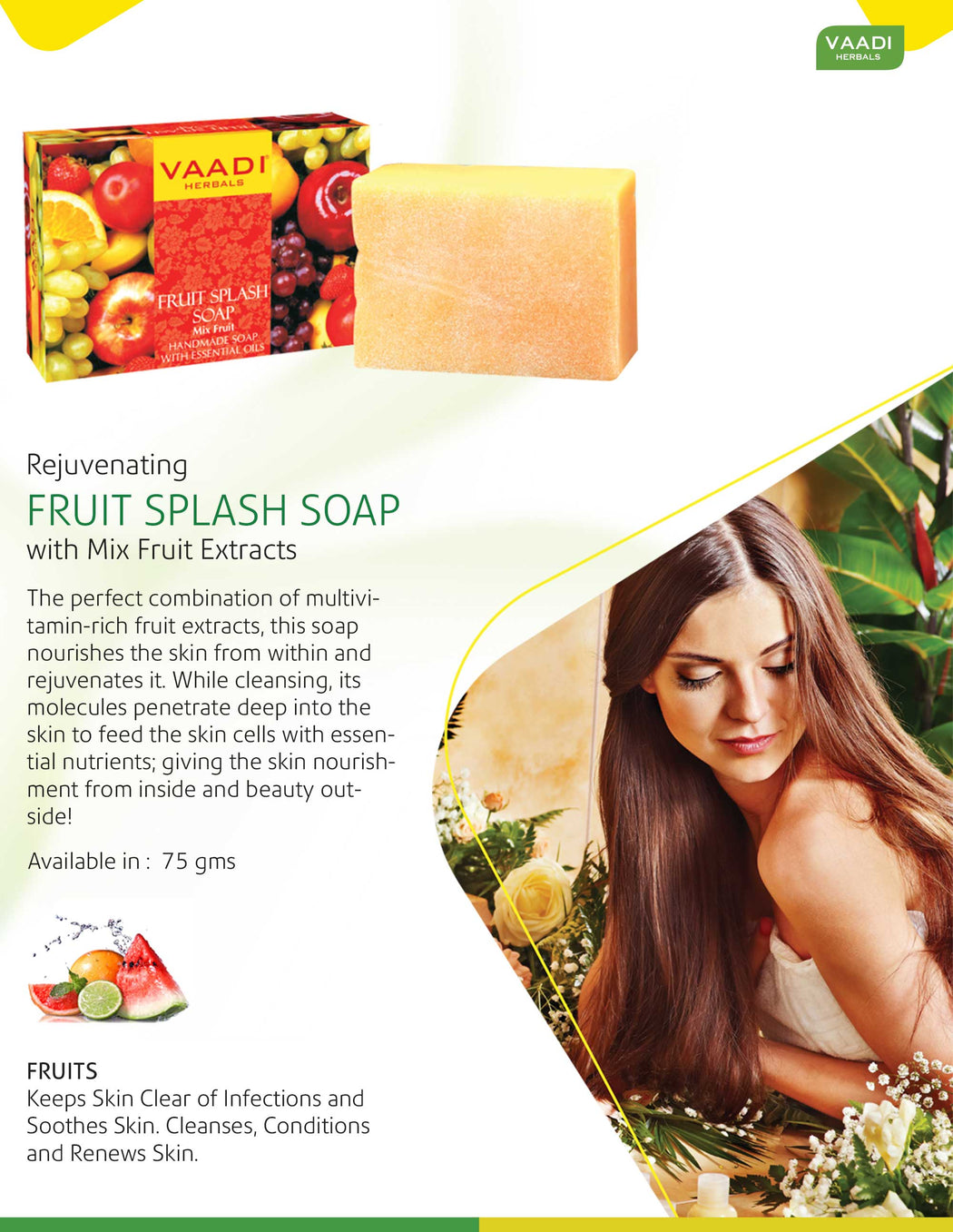 Pack of 12 FRUIT SPLASH SOAP with extracts of Orange, Peach, Green Apple & Lemon (75 gms x 12)