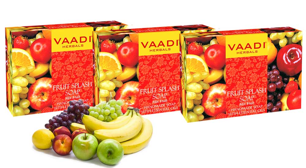 Pack of 3 FRUIT SPLASH SOAP with extracts of Orange, Peach, Green Apple & Lemon (75 gms x 3)