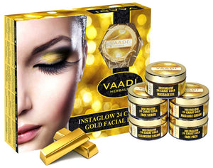 Gold Facial Kit - 24 Carat Gold Leaves, Marigold & Wheatgerm Oil, Lemon Peel Extract (270 gms)