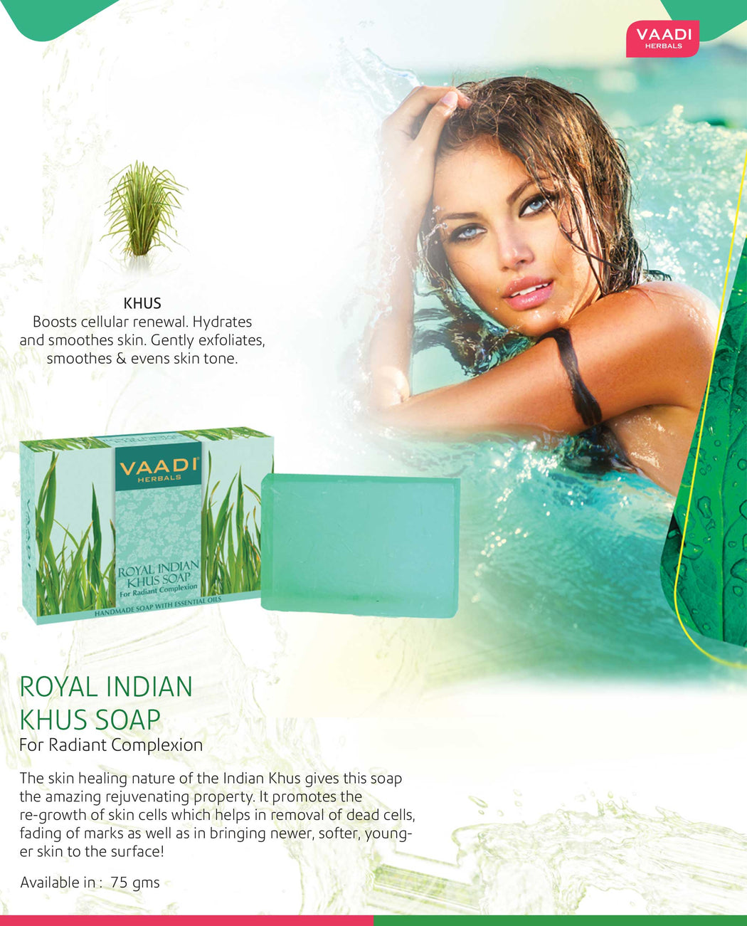 Pack of 6 Royal Indian Khus Soap With Olive & Soyabean Oil (75 gms x 6)