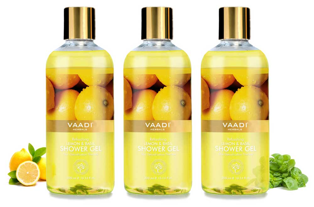 Pack of 3 Refreshing Lemon & Basil Shower Gel (300 ml x 3)
