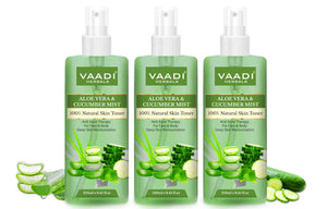 Aloe Vera & Cucumber Mist - 100% Natural Skin Toner (250 ml x 3)