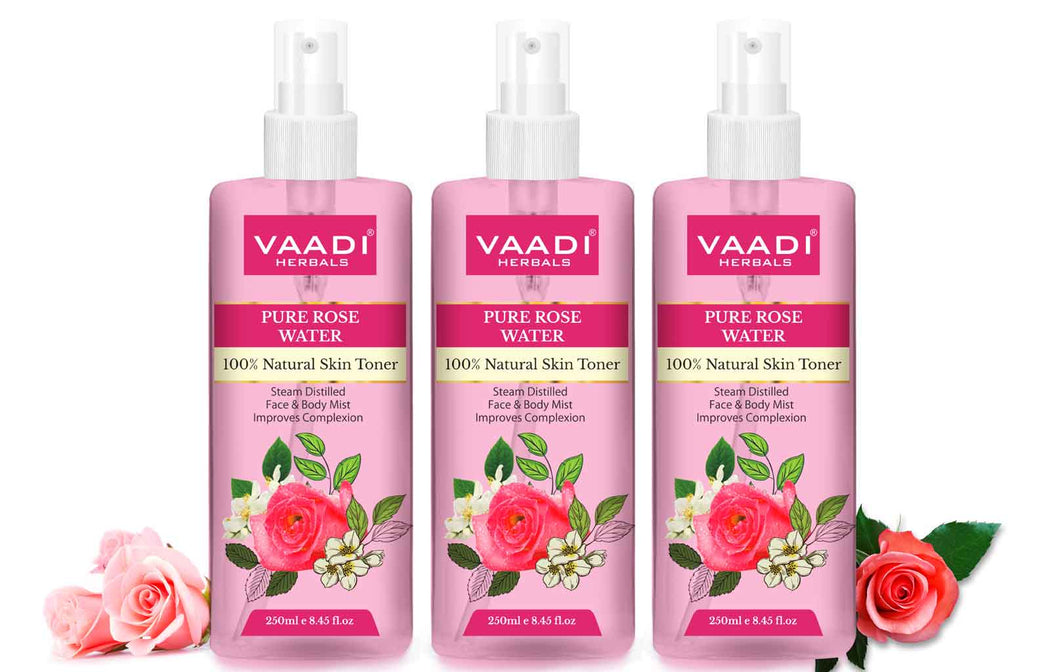 Rose Water - 100% Natural & Pure (250 ml x 3)
