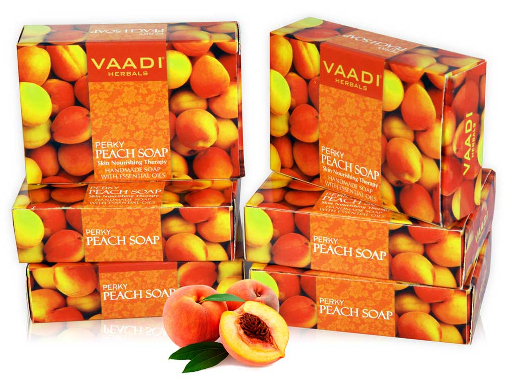 Pack of 6 PERKY PEACH SOAP with Almond Oil (75 gms x 6)