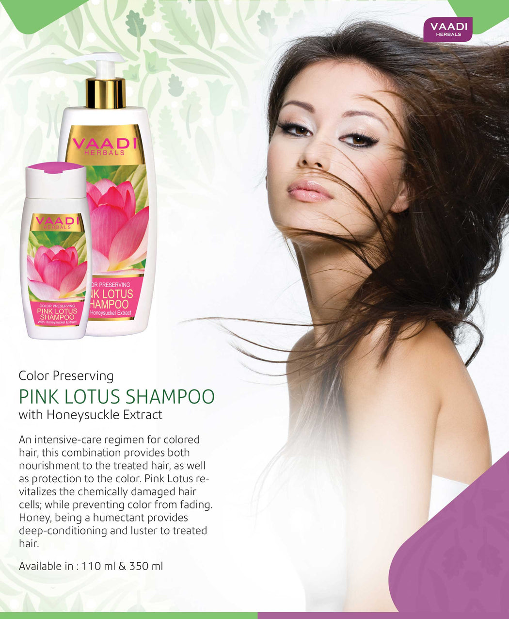 Pack of 3 Pink Lotus Shampoo With Honeysuckel Extract - Color Preserving (110 ml x 3)