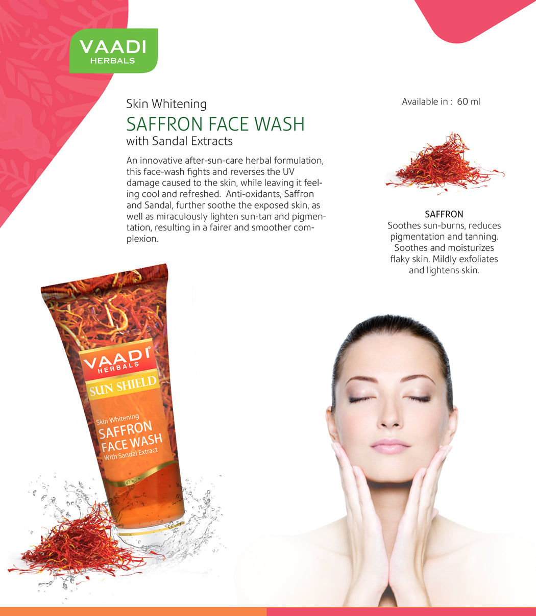 Pack of 4 Skin Whitening SAFFRON FACE WASH with Sandal extract (60 ml X 4)