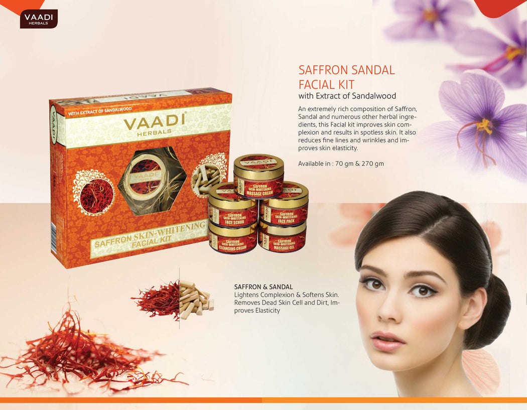 Saffron Skin-Whitening Facial Kit With Sandalwood Extract (270 gms)