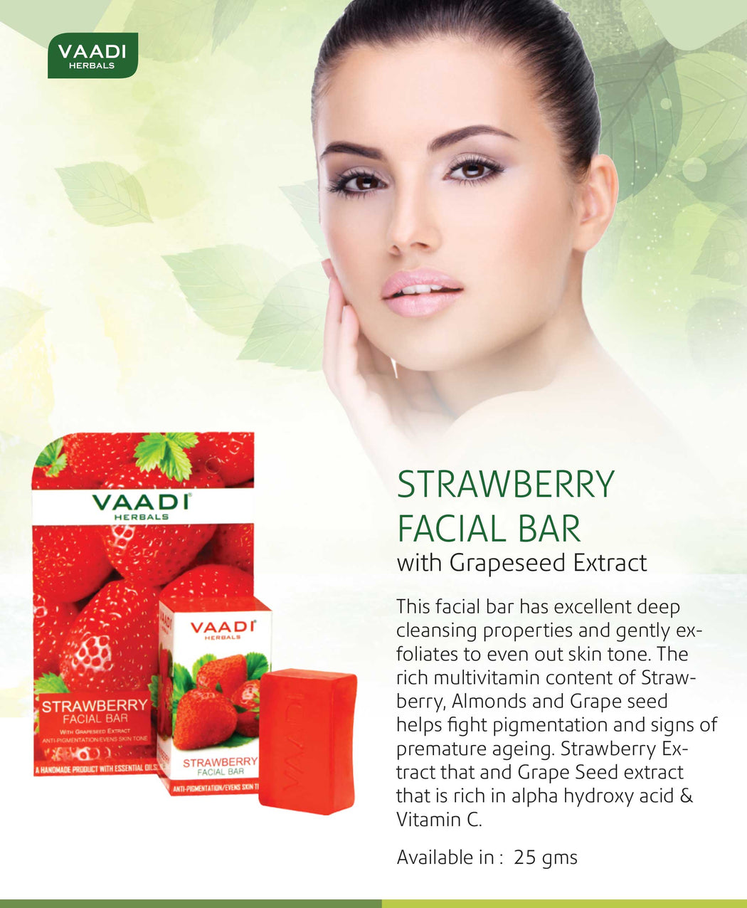 Pack of 6 Strawberry Facial Bars with Grapeseed Extract (25gms x 6)