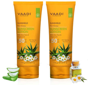 Pack of 2 Sunscreen Lotion SPF-50 with Aloe Vera & Chamomile (110 ml x 2)