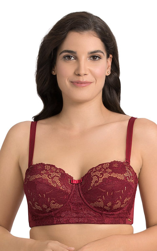 Laced Biking Red | red-exotic-shimmer-balconette-bra-F0008