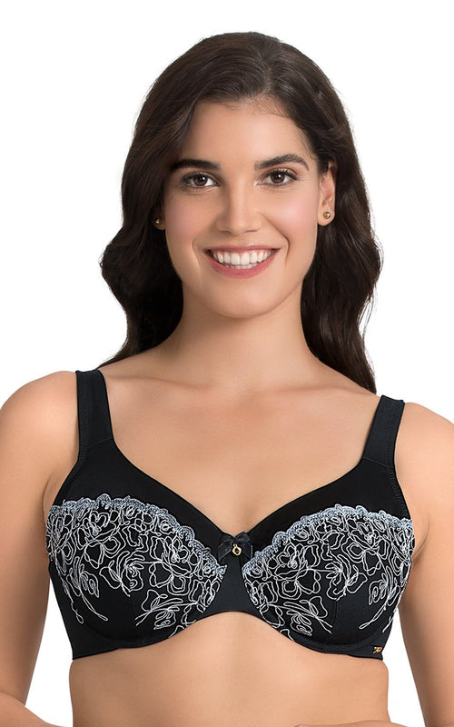 Laced Black | black-deco-floral-full-cover-bra-F0010