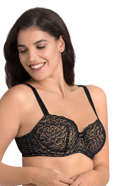 Laced Black | black-modern-bloom-lace-balconette-bra-F0011