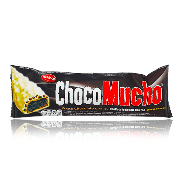CHOCO MUCHO WHITE CHOCOLATE CARAMEL CHOCOLATE COOKIE CENTRE BAR 25g