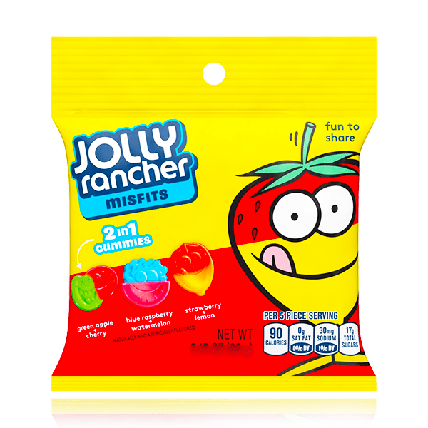 JOLLY RANCHER MISFITS 2 IN 1 GUMMIES BAG 92g