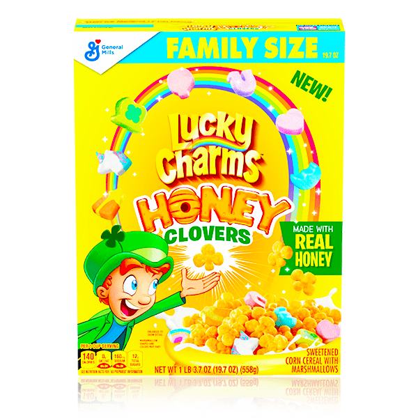 LUCKY CHARMS HONEY CLOVERS CEREAL LARGE 558G