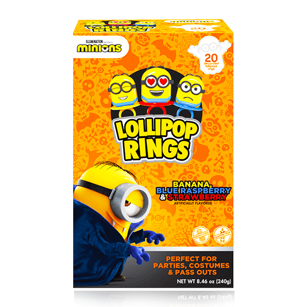 MINIONS LOLLIPOP RINGS 20 COUNT 240G