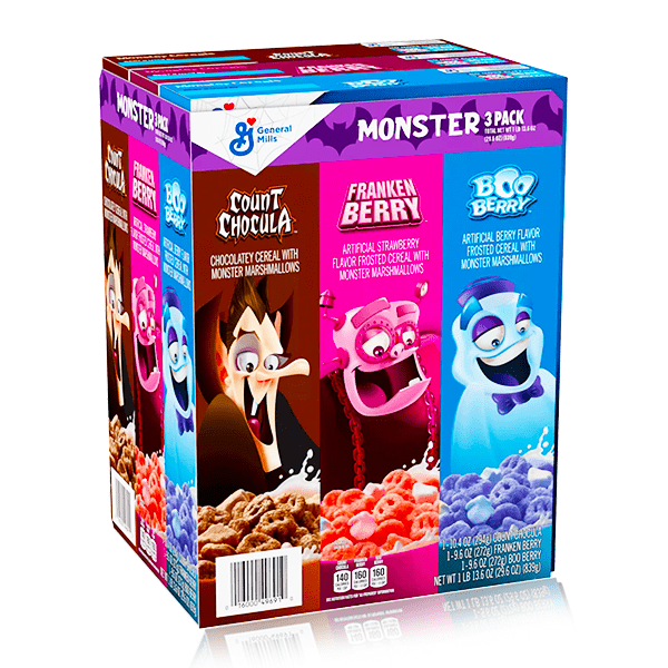MONSTER 3 PACK COUNT CHOCULA, FRANKEN BERRY & BOO BERRY