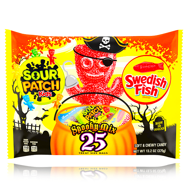 SOUR PATCH & SWEDISH FISH SPOOKY MIX TREAT SIZE BAGS 25 PACK