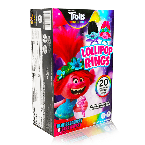 TROLLS LOLLIPOP RINGS 20 COUNT 240G