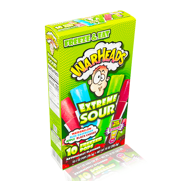 WARHEADS EXTREME SOUR FREEZER POPS 10 PACK 283g