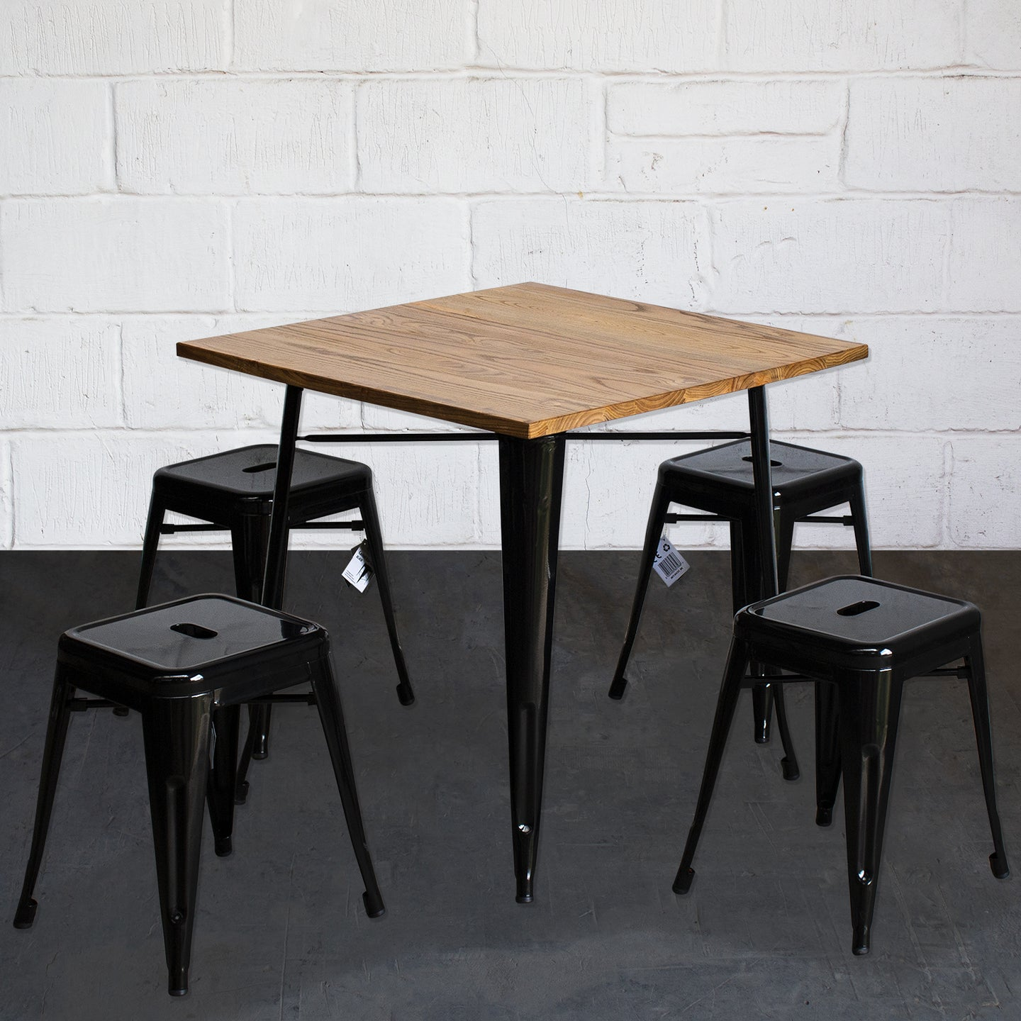 5PC Enna Table & Castel Stool Set - Black