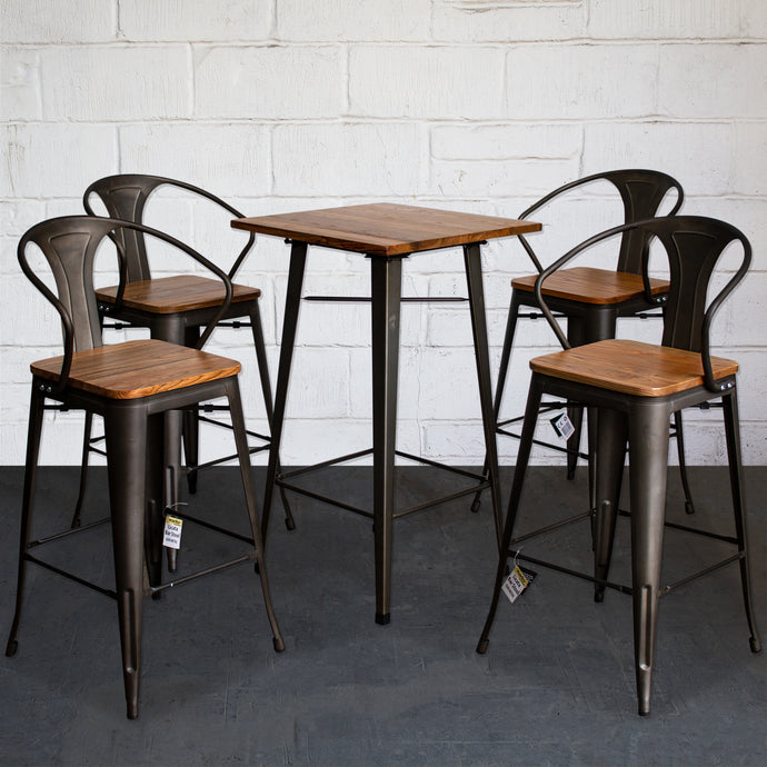 5PC Lodi Table & Licata Bar Stool Set - Gun Metal Grey