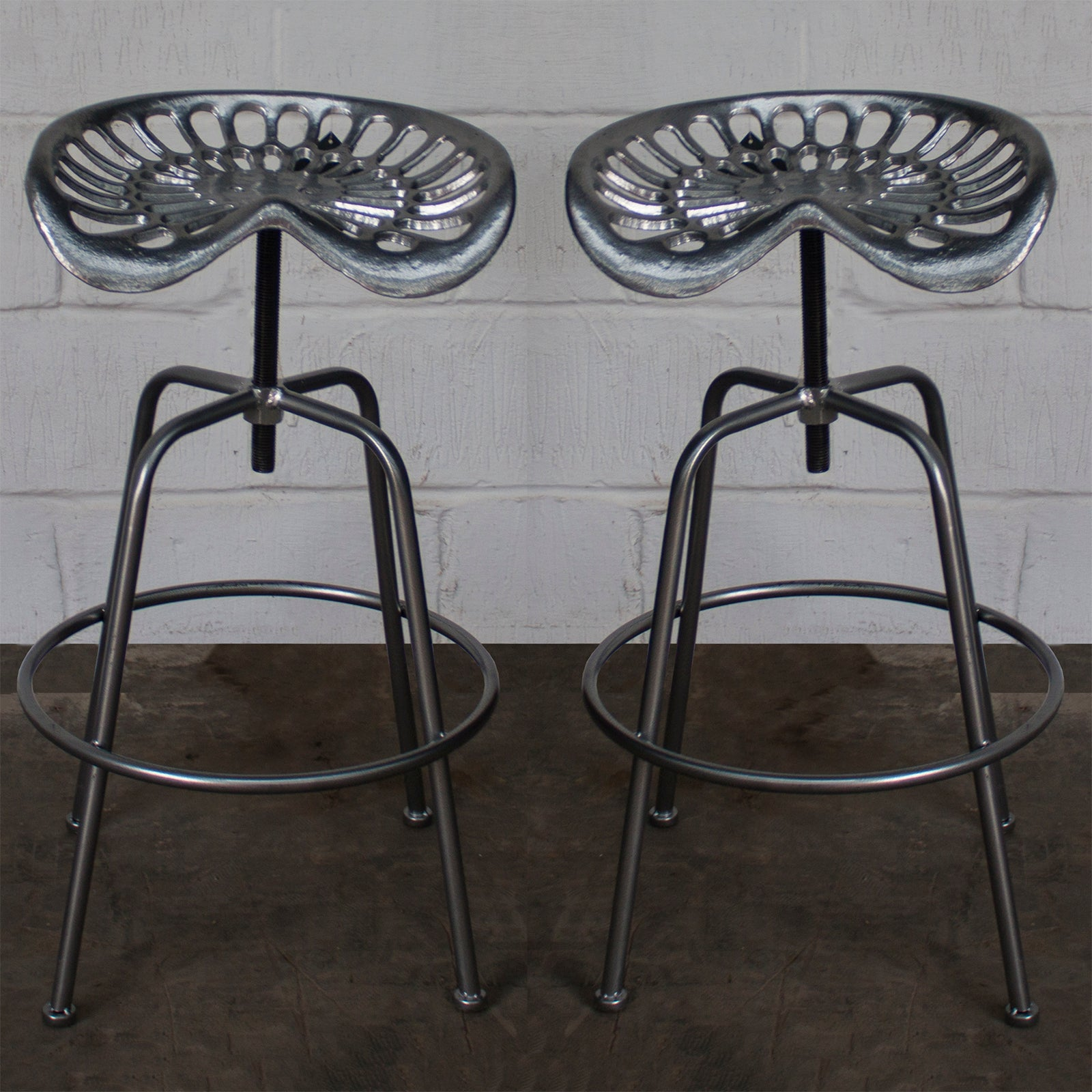 Incredible Arezzo Tractor Bar Stools Silver Gmtry Best Dining Table And Chair Ideas Images Gmtryco