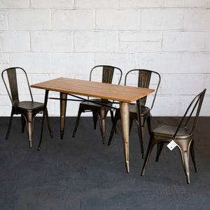 5PC Prato Table & 4 Siena Chairs Set - Gun Metal Grey