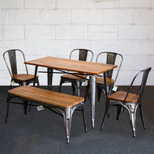 6PC Prato Table, 4 Palermo Chairs & Sicily Bench Set - Steel