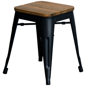 5PC Enna Table & Rho Stool Set - Onyx Matt Black