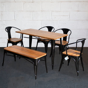 6PC Prato Table, 4 Florence Chairs & Sicily Bench Set - Black