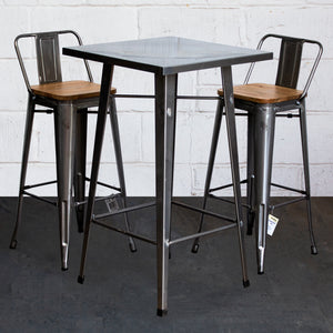 3PC Laus Table & Tuscany Bar Stool Set - Steel
