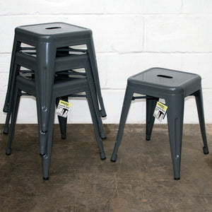 5PC Enna Table & Castel Stool Set - Graphite Grey