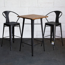 3PC Lodi Table & Favara Bar Stool Set - Onyx Matt Black