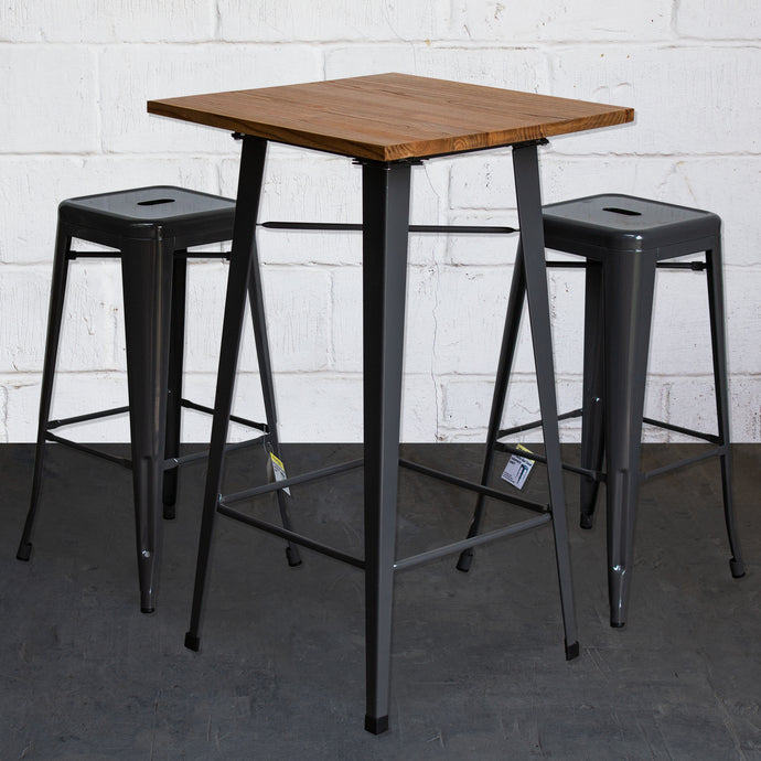 3PC Lodi Table & Orvieto Bar Stool Set - Graphite Grey
