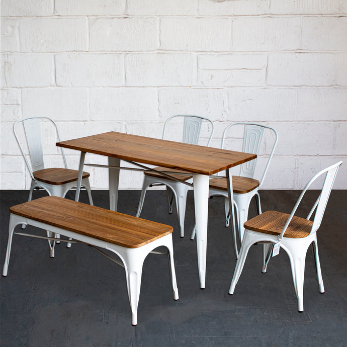 6PC Prato Table, 4 Palermo Chairs & Sicily Bench Set - White