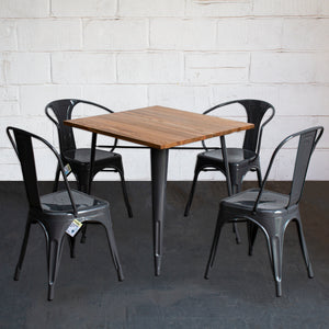 5PC Enna Table Forli & Siena Chairs Set - Graphite Grey
