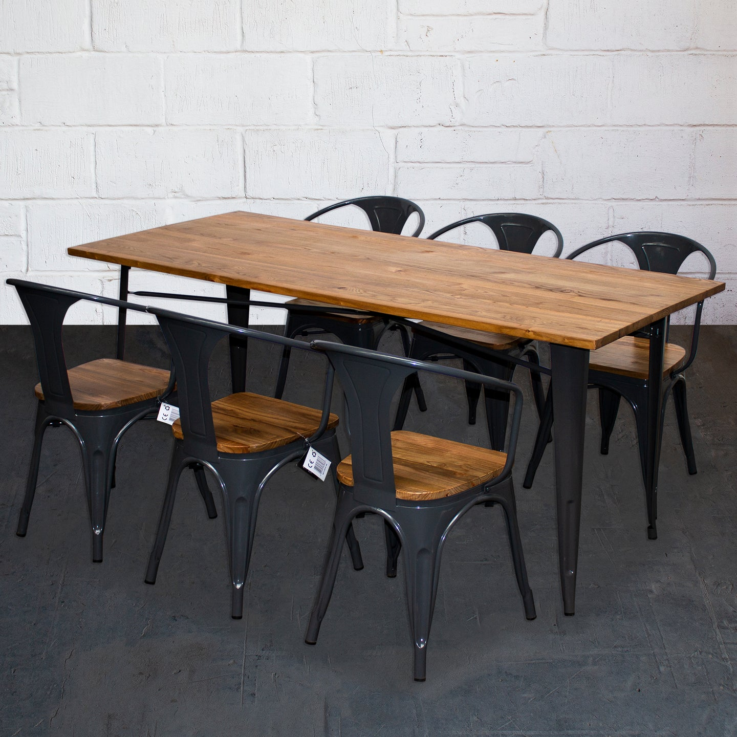 7PC Taranto Table & 6 Florence Chairs Set - Graphite Grey