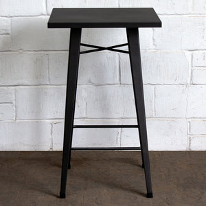 5PC Laus Table & Favara Bar Stool Set - Onyx Matt Black