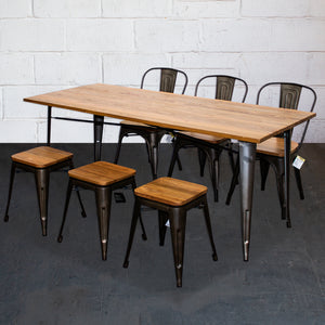 7PC Taranto Table, 3 Palermo Chairs & 3 Rho Stools Set - Gun Metal Grey