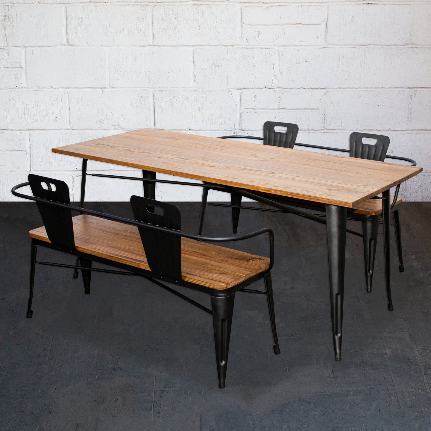 3PC Taranto Table & 2 Nuoro Benches Set - Onyx Matt Black