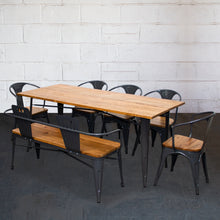 7PC Taranto Table, 5 Florence Chairs & Nuoro Bench Set - Graphite Grey